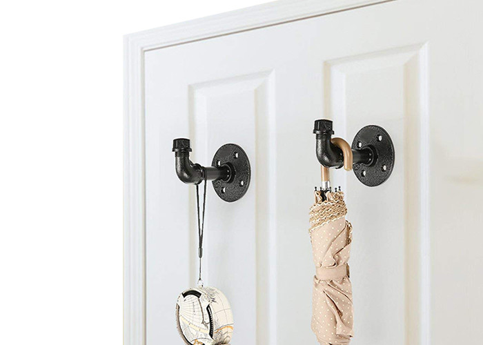 Black Pipe Clothing Rack Wall Mounted Threaded Connection For Home Decoration